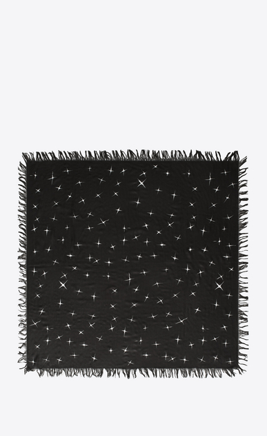 SAINT LAURENT Squared Scarves Man Scarf with shooting star print in black and ivory spun silk b_V4