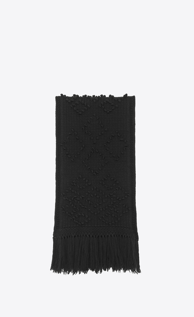 SAINT LAURENT Large scarves Man Large scarf in black Aran knit a_V4