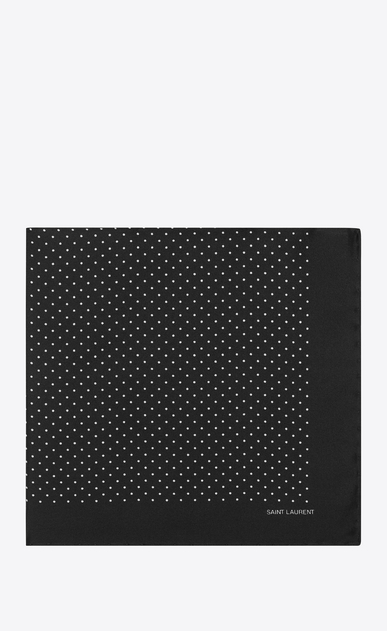 SAINT LAURENT Squared Scarves Man Handkerchief in black silk with ivory polka-dot print a_V4