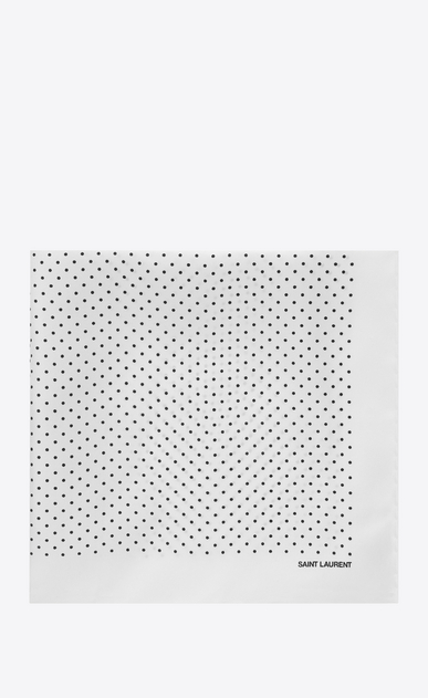 SAINT LAURENT Squared Scarves Man Handkerchief in ivory silk with black polka-dot print a_V4