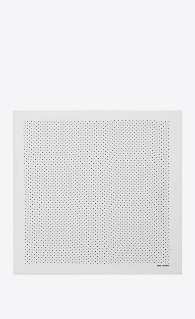 SAINT LAURENT Squared Scarves Man Handkerchief in ivory silk with black polka-dot print b_V4