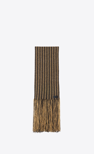 SAINT LAURENT Large scarves Man Fringed scarf in a black and gold Lurex knit a_V4