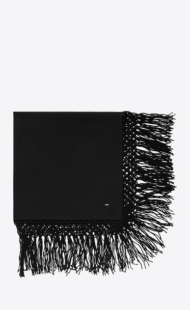 SAINT LAURENT Squared Scarves Man Fringed scarf in black wool twill a_V4