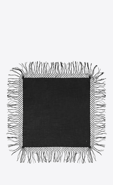 SAINT LAURENT Squared Scarves Man Fringed scarf in black wool twill b_V4