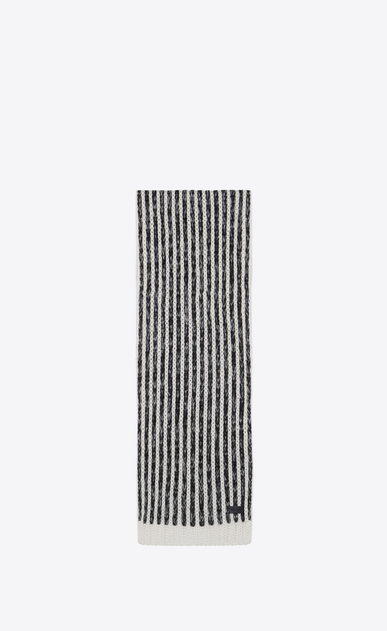 SAINT LAURENT Large scarves Man Striped scarf in a black and ivory striped wool knit a_V4