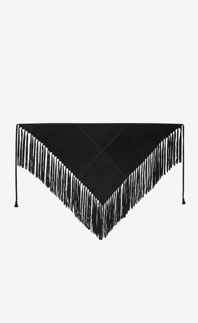 SAINT LAURENT Squared Scarves Man Fringed triangular scarf in black suede a_V4