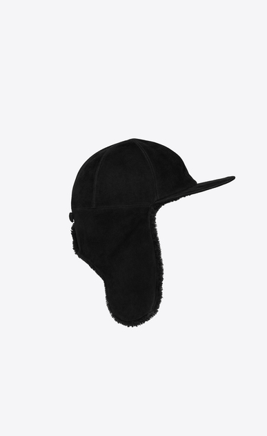 SAINT LAURENT Hats Man Black shearling-lined cap a_V4