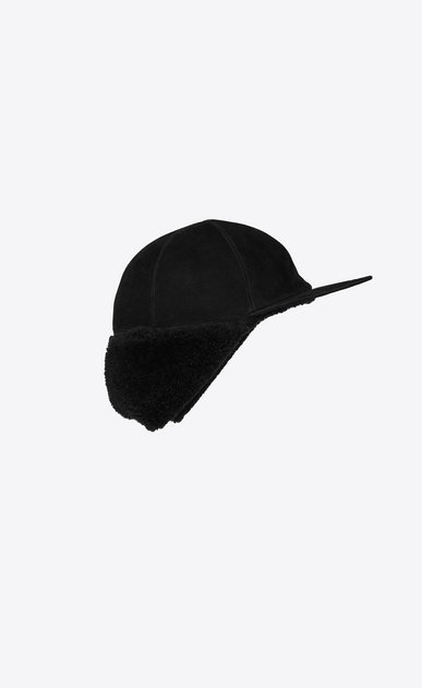 SAINT LAURENT Hats Man Black shearling-lined cap b_V4