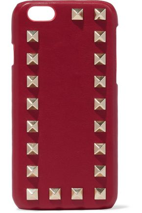 VALENTINO GARAVANI Studded textured-leather iPhone case
