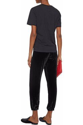 CURRENT/ELLIOTT Cropped velvet track pants