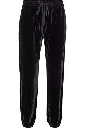 CURRENT/ELLIOTT Cropped velvet track pants