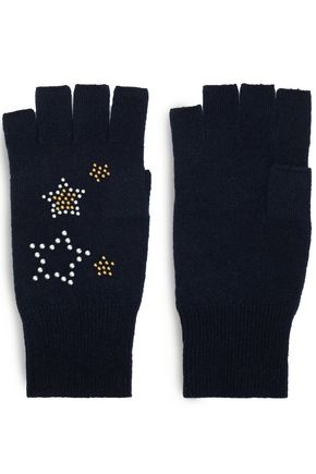 AUTUMN CASHMERE Studded cashmere gloves