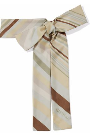 VALENTINO Striped silk-twill scarf
