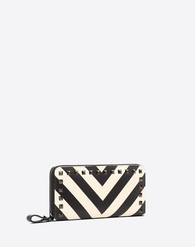 Striped Rockstud Continental Wallet