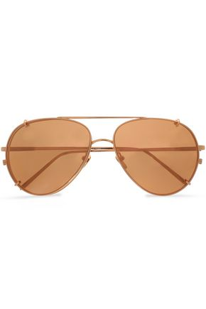 LINDA FARROW Aviator-style gold-tone sunglasses