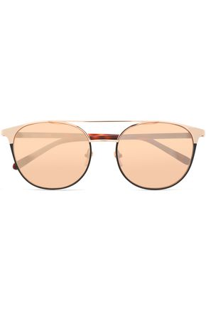 LINDA FARROW Aviator-style tortoiseshell acetate and gold-tone sunglasses