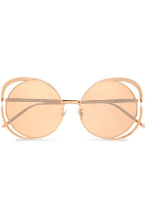 LINDA FARROW Round-frame cutout rose gold-tone sunglasses