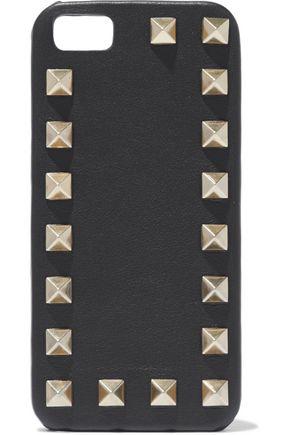 VALENTINO GARAVANI Studded textured-leather phone case