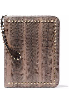 VALENTINO GARAVANI Studded python tablet case