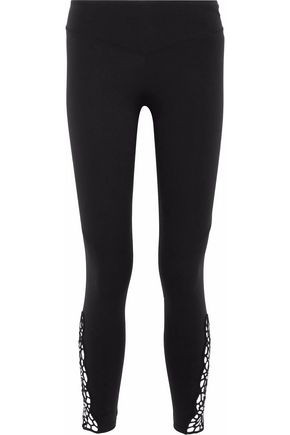 SÀPOPA Lilla cropped guipure lace-paneled stretch leggings