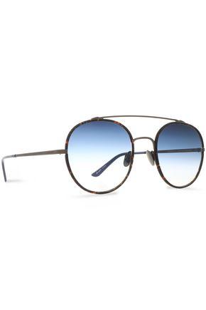SUNDAY SOMEWHERE Aviator-style gold-tone acetate sunglasses