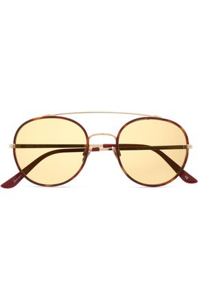 SUNDAY SOMEWHERE Aviator-style tortoiseshell acetate and gold-tone sunglasses