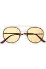 SUNDAY SOMEWHERE Aviator-style tortoiseshell acetate and gold-tone sunglasses