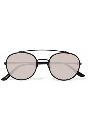 Sunday Somewhere Sunglasses SUNDAY SOMEWHERE WOMAN PARKER AVIATOR-STYLE METAL MIRRORED SUNGLASSES TAUPE