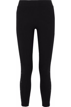 YUMMIE by HEATHER THOMSON Cropped eyelet-embellished stretch-cotton leggings