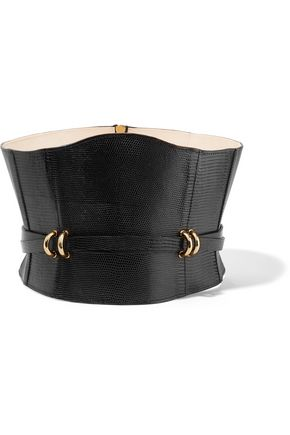BALMAIN Embellished lizard-effect leather waist belt