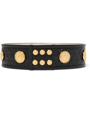 BALMAIN Embellished quilted leather belt