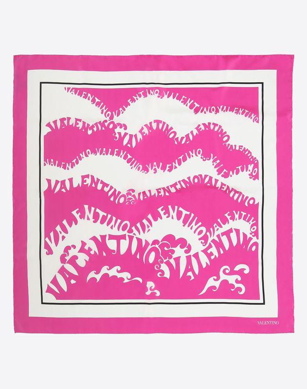 印纹真丝方巾 粉桃色