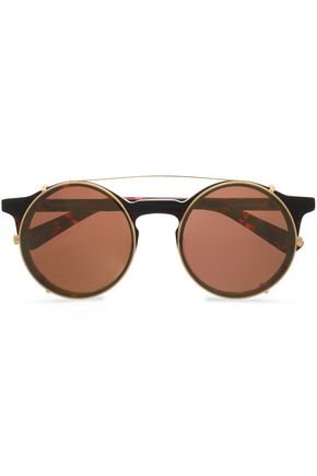 SUNDAY SOMEWHERE Lorenzo round-frame tortoiseshell acetate and gold-tone mirrored sunglasses