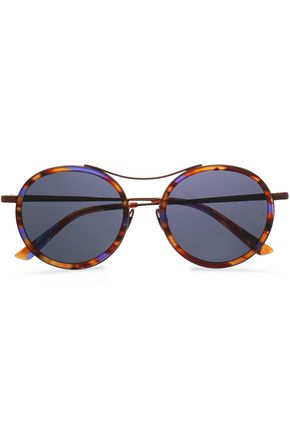 SUNDAY SOMEWHERE Roso round-frame tortoiseshell acetate and metal mirrored sunglasses