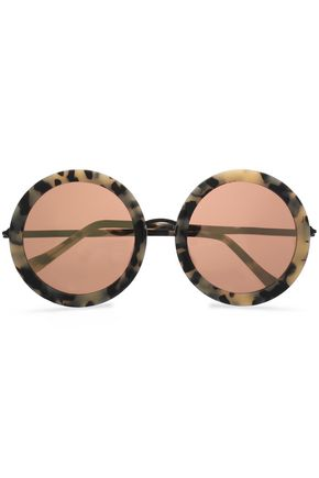 WOMAN ROUND-FRAME TORTOISESHELL ACETATE MIRRORED SUNGLASSES CREAM
