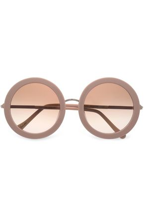 WOMAN ROUND-FRAME TORTOISESHELL ACETATE MIRRORED SUNGLASSES BLUSH