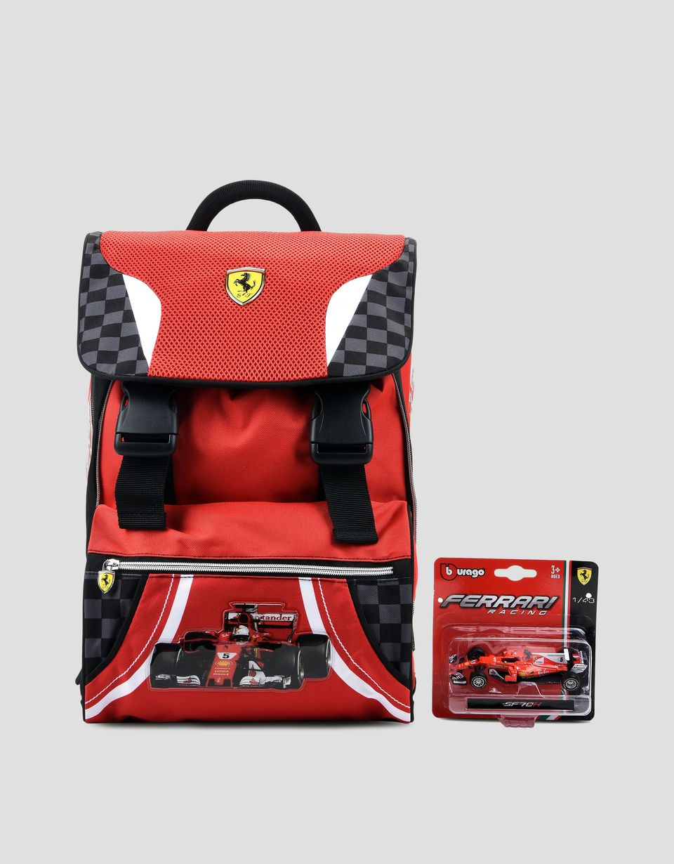 Scuderia Ferrari Online Store - Scuderia Ferrari expandable backpack with complimentary toy car - School Bags