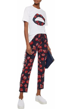 MARKUS LUPFER Ruffle-trimmed floral-print silk-crepe track pants