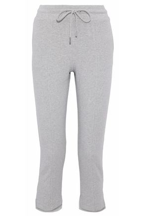 CUSHNIE Amaris cropped mélange fleece track pants