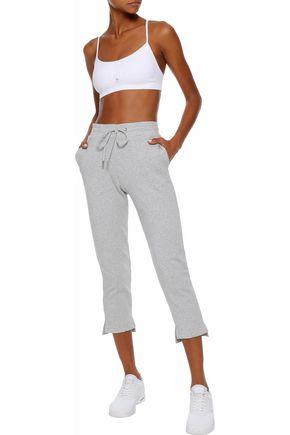 CUSHNIE Amaris cropped mélange fleece track pants