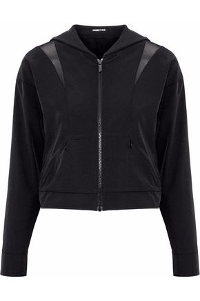 CUSHNIE ET OCHS Cropped mesh-paneled cutout shell hooded jacket