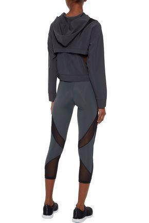 CUSHNIE Cropped mesh-paneled stretch-jersey leggings