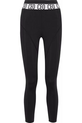 CUSHNIE ET OCHS Cropped jacquard knit-trimmed stretch leggings