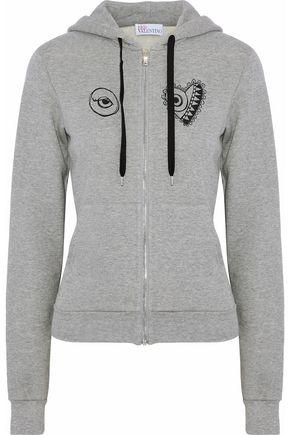 REDValentino Printed cotton-fleece hooded sweatshirt