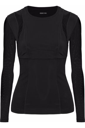 CUSHNIE ET OCHS Mesh-paneled cutout stretch-jersey top