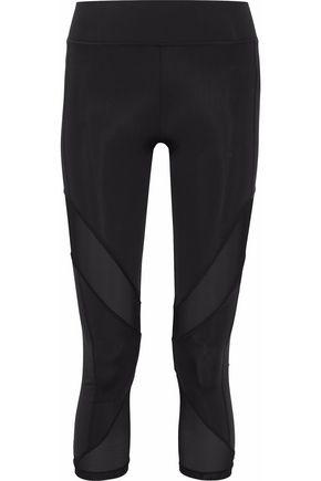 CUSHNIE ET OCHS Cropped mesh-paneled stretch-jersey leggings