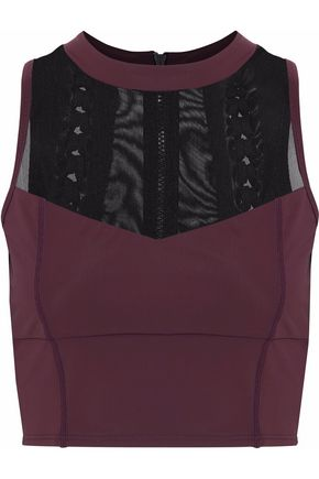 CUSHNIE ET OCHS Cropped mesh-paneled lace-up tech-jersey top