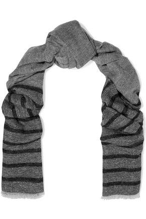 BRUNELLO CUCINELLI Striped metallic knitted scarf
