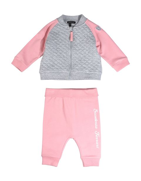 Infant girls' outfit with full zipper sweatshirt and cotton sweatpants