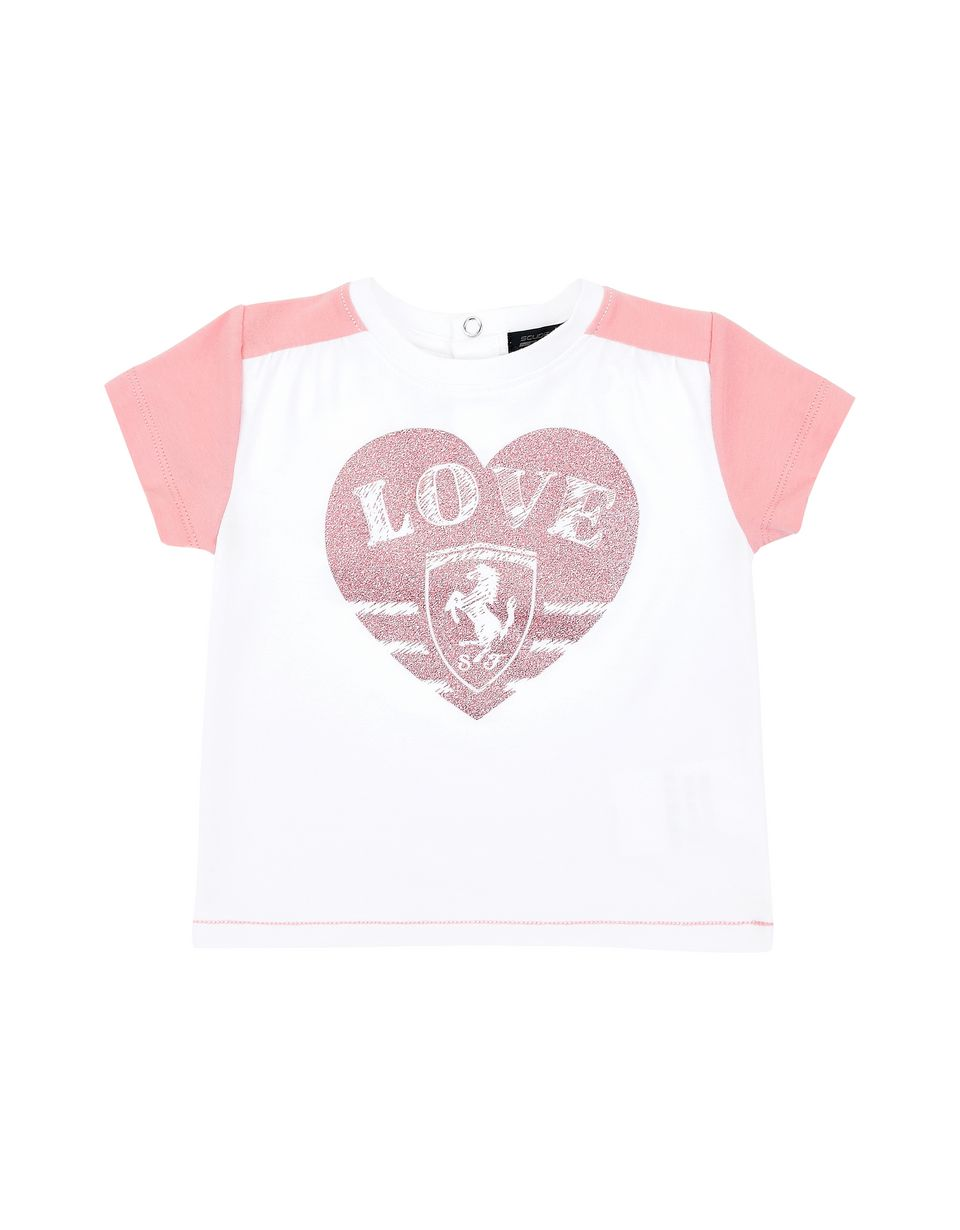 Scuderia Ferrari Online Store - Two-colour infant girl T-shirt with short sleeves - Short Sleeve T-Shirts